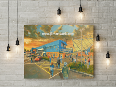rugby park going to the match canvas a2 size
